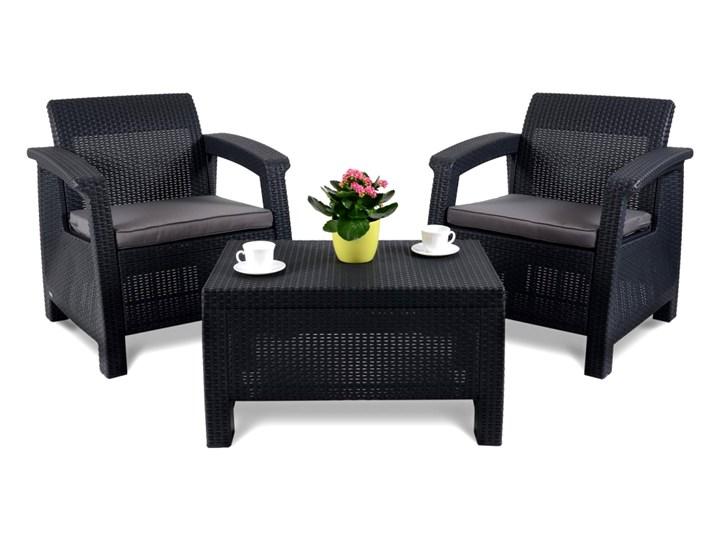 Zestaw mebli ogrodowych 75x70x79cm CORFU WEEKEND antracyt/szary kod: 001127 Stoły z krzesłami Tworzywo sztuczne Rattan Zawartość zestawu Stolik Zawartość zestawu Fotele