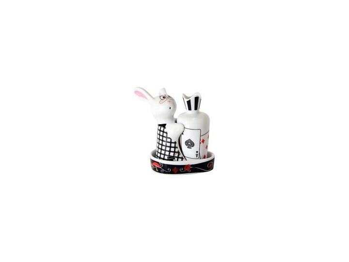 Porcelanowa solniczka i pieprzniczka - Królik w Krainie Czarów Kolor Czarny Ceramika Zestaw do przypraw Kategoria Przyprawniki