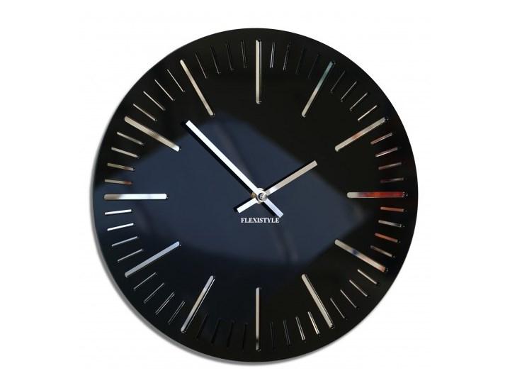 Zegar ścienny do salonu TRIM czarny połysk 30cm Okrągły Szkło Styl Nowoczesny