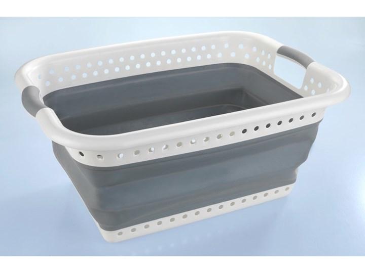Funkcjonalny kosz na pranie, praktyczna składana konstrukcja, kolor biało-szary, dwa uchwyty ułatwiające przenoszenie, marka Wenko Tworzywo sztuczne Tkanina