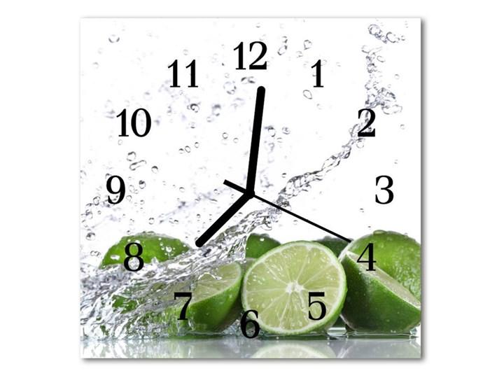 Zegar ścienny kwadrat Limonka Szkło Kwadratowy Kolor Zielony