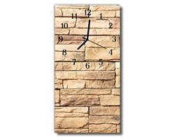 Zegar Szklany Pionowy Kamienny mur beżowy
