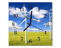 Zegar ścienny kwadrat Wiatraki Pole