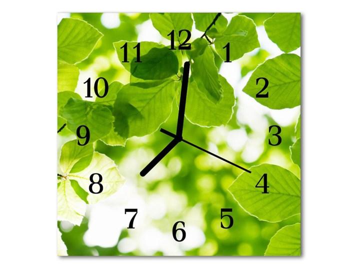 Zegar ścienny kwadrat Listowie Kolor Zielony Szkło Kwadratowy Styl Nowoczesny