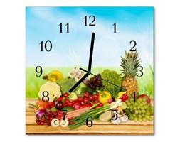 Zegar szklany kwadratowy Owoce warzywa