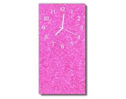 Zegar Szklany Pionowy Brokat różowy