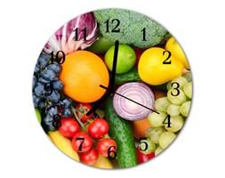 Zegar szklany okrągły Owoce warzywa
