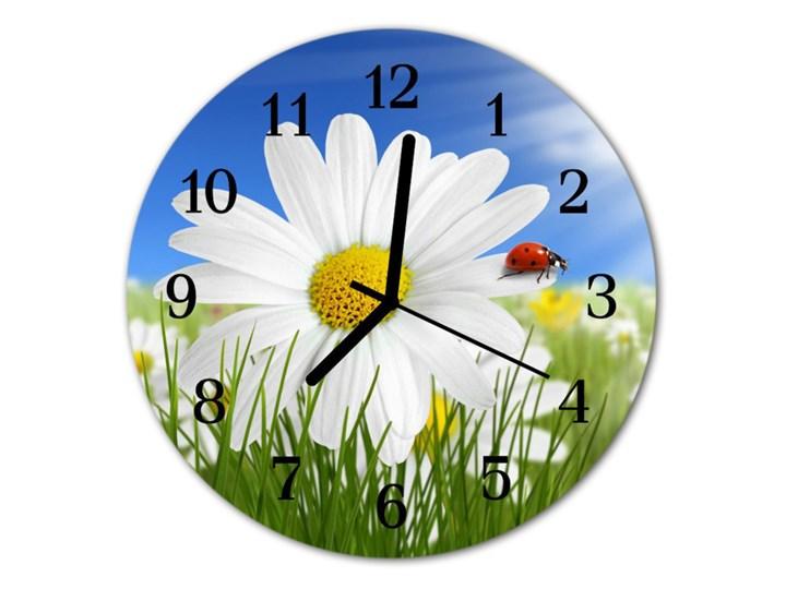 Zegar ścienny okrągły Biedronka kwiat Kolor Szkło Styl Nowoczesny