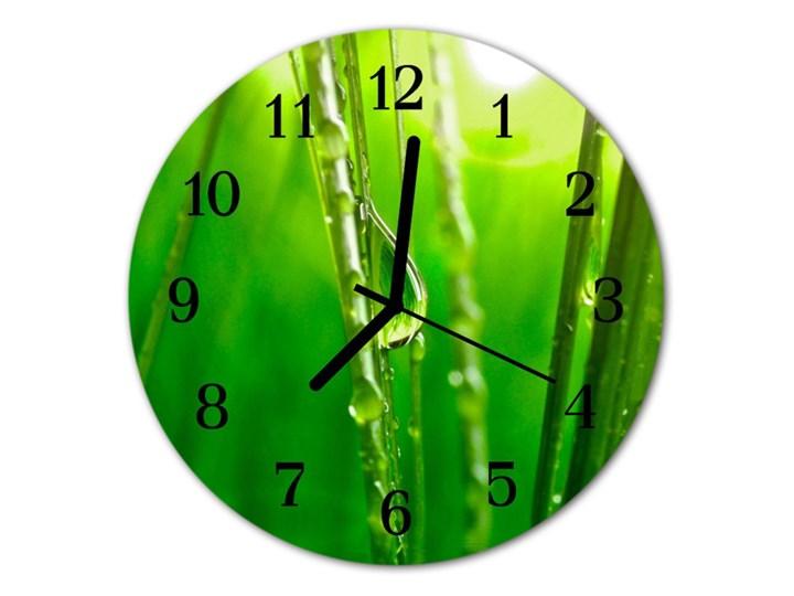 Zegar ścienny okrągły Krople trawy Szkło Styl Nowoczesny