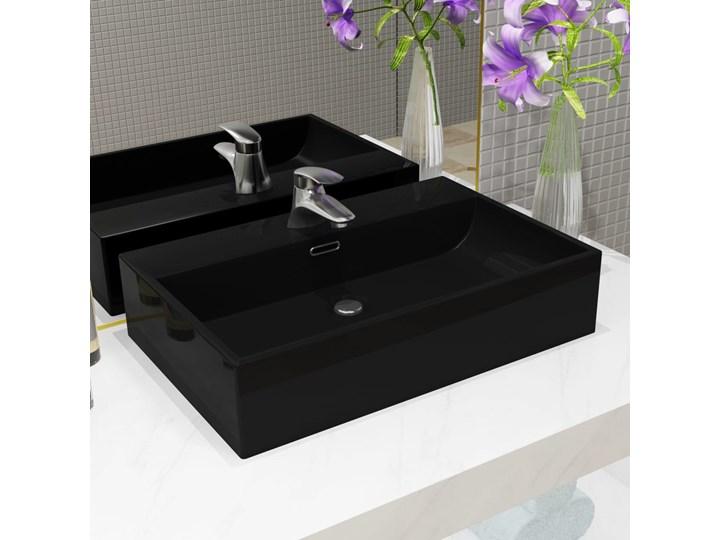 vidaXL Umywalka z ceramiki z otworem na kran 60,5x42,5x14,5 cm, czarna Szkło Szerokość 61 cm Ceramika Kolor Czarny