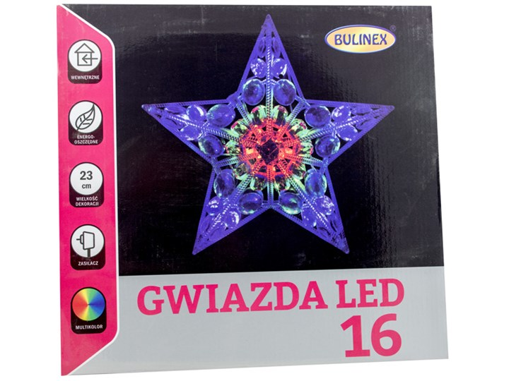 Gwiazda Okienna 16 Diod Led 23cm Multikolor