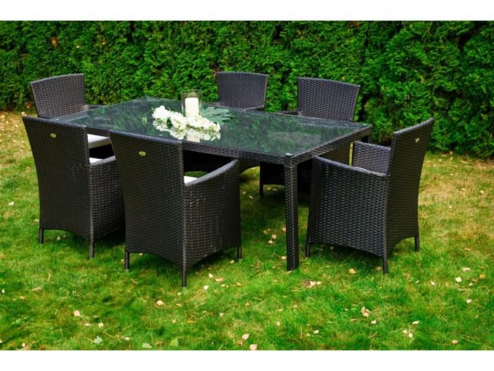 Meble obiadowe z czarnego technorattanu GUSTOSO Tworzywo sztuczne Aluminium Stoły z krzesłami Zestawy obiadowe Kolor Czarny