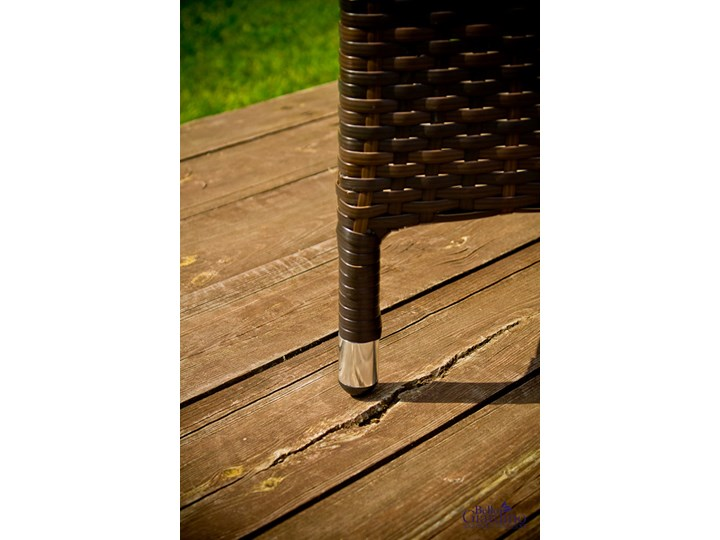 Meble obiadowe z czarnego technorattanu GUSTOSO Tworzywo sztuczne Stoły z krzesłami Zawartość zestawu Krzesła Aluminium Zestawy obiadowe Kolor Czarny