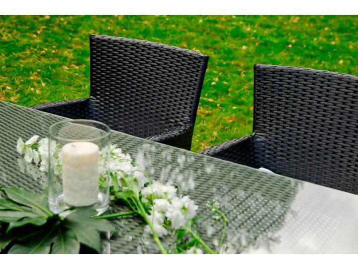 Meble obiadowe z czarnego technorattanu GUSTOSO Kolor Czarny Aluminium Tworzywo sztuczne Stoły z krzesłami Zestawy obiadowe Zawartość zestawu Krzesła