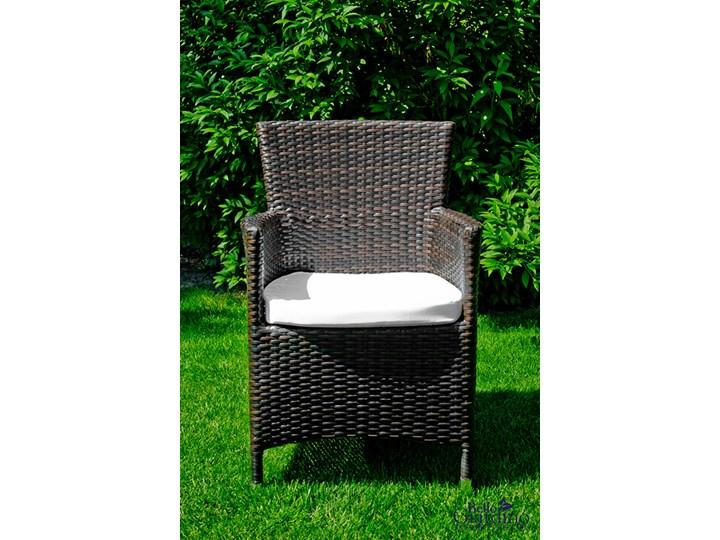 Meble obiadowe z czarnego technorattanu GUSTOSO Zestawy obiadowe Tworzywo sztuczne Aluminium Stoły z krzesłami Kolor Czarny