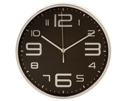 Zegar na ścianę okrągły, nowoczesna dekoracja do salonu w srebrnej oprawie