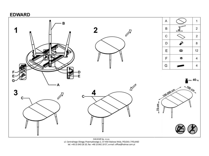 Rozkładany stół do salonu Edward dąb miodowy Długość 120 cm  Szerokość 100 cm Drewno Długość 100 cm Długość 200 cm  Płyta MDF Stal Kategoria Stoły kuchenne
