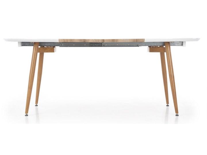 Rozkładany stół do salonu Edward dąb miodowy Długość 100 cm Stal Drewno Płyta MDF Szerokość 100 cm Długość 120 cm  Długość 200 cm  Rozkładanie