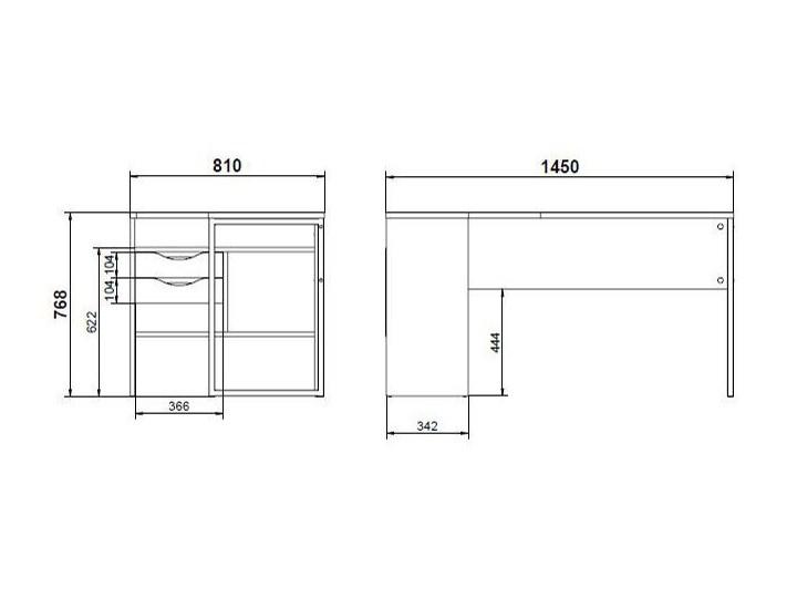 Biurko narożne Function 118 biały/dąb truflowy Głębokość 81 cm Płyta MDF Szerokość 145 cm Styl Nowoczesny