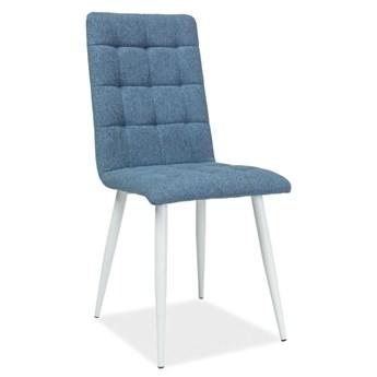 Pikowane krzesło do jadalni Otto stelaż biały