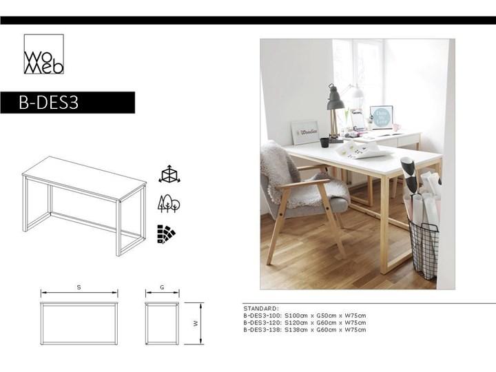 Nowoczesne biurko DES3 w stylu skandynawskim Drewno Sosna Głębokość 66 cm Szerokość 100 cm Styl Nowoczesny