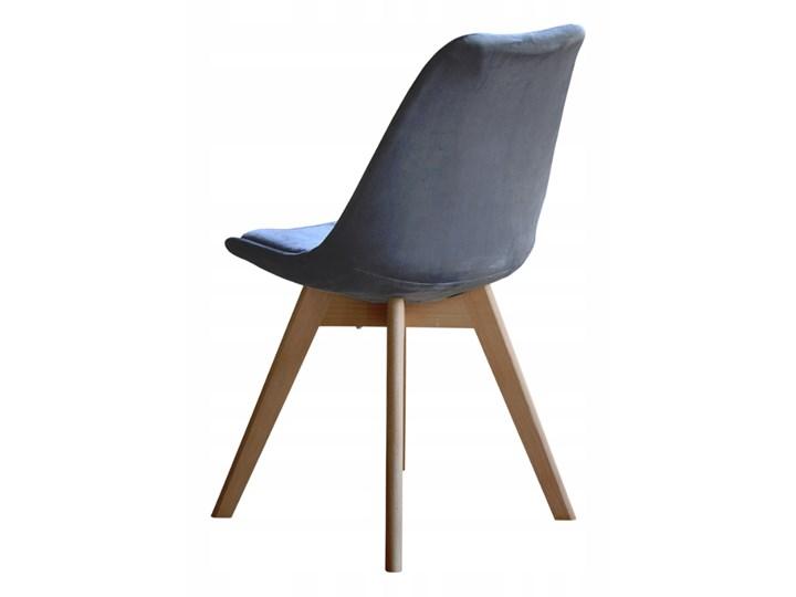 NOWOCZESNE KRZESŁO ART132C POPIEL WELUR #21 Pikowane Drewno Tapicerowane Tkanina Tworzywo sztuczne Krzesło inspirowane Styl Skandynawski