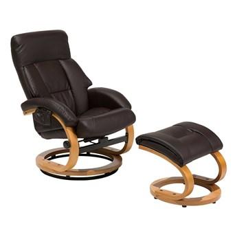 Fotel wypoczynkowy podgrzewany z masażem i podnóżkiem brązowy ekoskóra drewniana rama odchylane oparcie