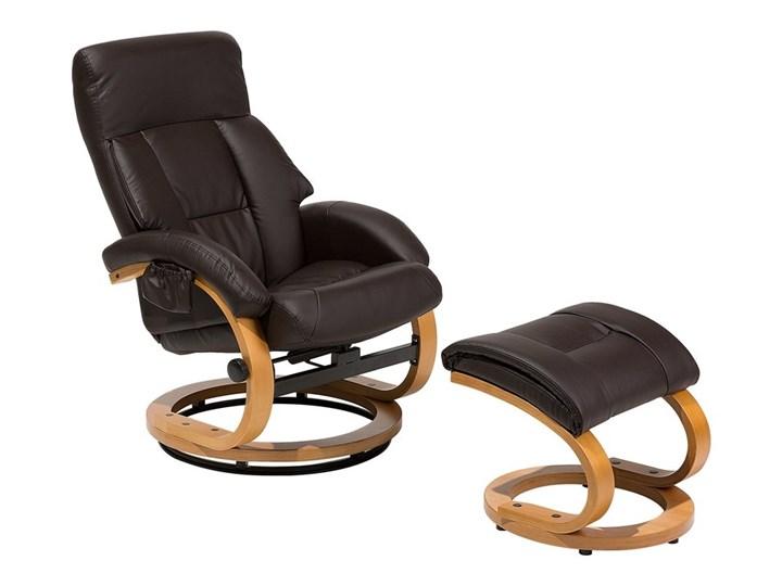 Fotel wypoczynkowy podgrzewany z masażem i podnóżkiem brązowy ekoskóra drewniana rama odchylane opar ...