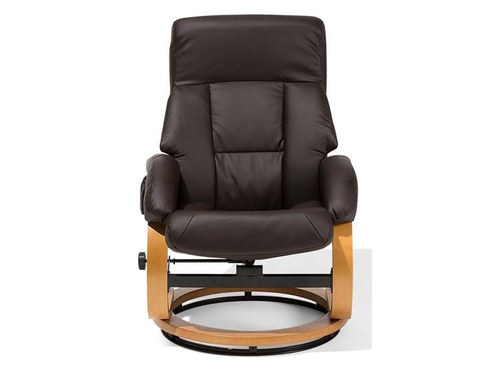 Fotel wypoczynkowy podgrzewany z masażem i podnóżkiem brązowy ekoskóra drewniana rama odchylane oparcie Tkanina Fotel masujący Drewno Kategoria Fotele do salonu Tworzywo sztuczne Skóra ekologiczna Kolor Czarny