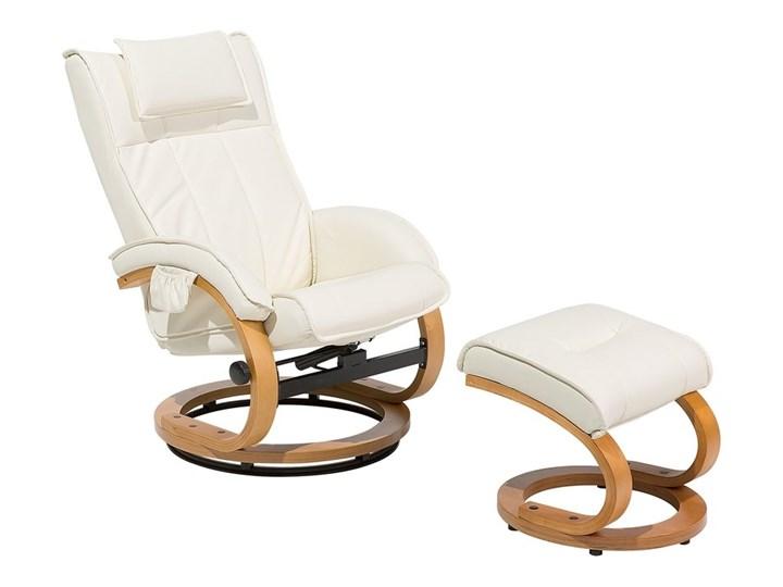 Fotel wypoczynkowy podgrzewany z masażem i podnóżkiem beżowy ekoskóra drewniana rama odchylane oparcie Drewno Fotel masujący Skóra ekologiczna Styl Vintage