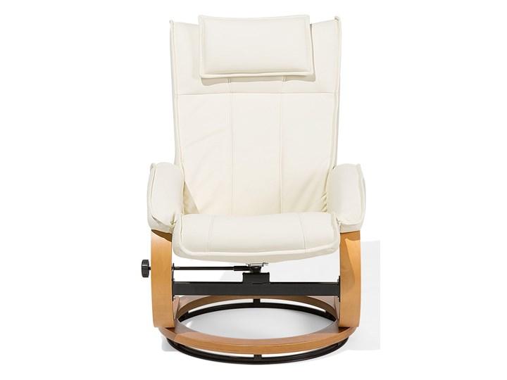 Fotel wypoczynkowy podgrzewany z masażem i podnóżkiem beżowy ekoskóra drewniana rama odchylane oparcie Fotel masujący Skóra ekologiczna Drewno Styl Vintage