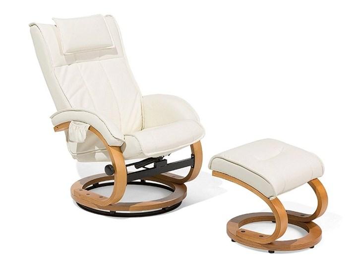 Fotel wypoczynkowy podgrzewany z masażem i podnóżkiem beżowy ekoskóra drewniana rama odchylane oparcie Fotel masujący Drewno Styl Vintage Skóra ekologiczna Styl Nowoczesny