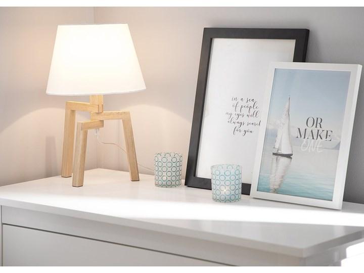 Lampa stołowa biała jasne drewno 42 cm trójnóg skandynawska Lampa z abażurem Lampa nocna Styl Skandynawski