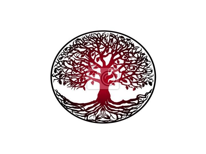 Obraz Szkic Tatuaż Drzewo życia Czerwony Gradient Drzewo Z Korzeniami