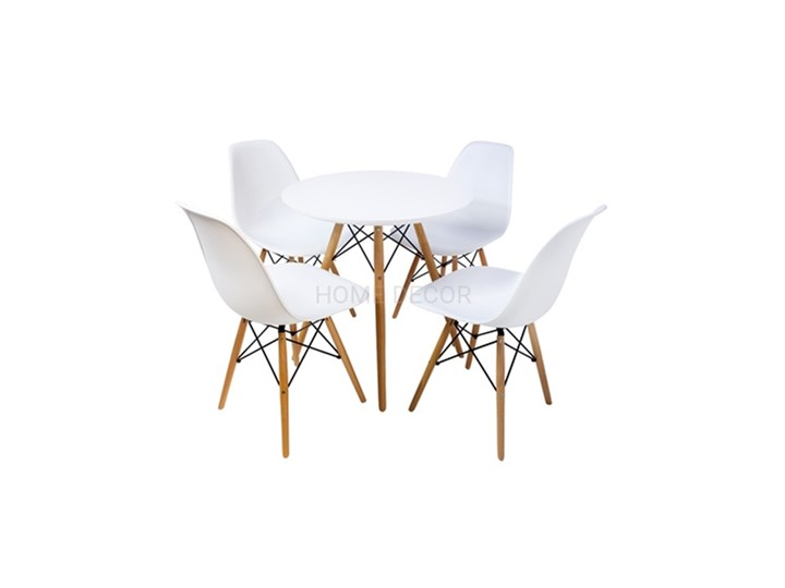 HOME DECOR ZESTAW PARIS STÓŁ 80 CM + 4 KRZESŁA NA NOGACH BUKOWYCH DSW DSR Pomieszczenie Jadalnia Kategoria Stoły z krzesłami