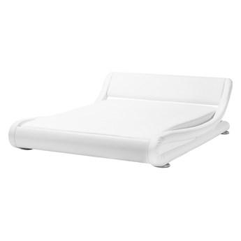 Łóżko wodne białe tapicerowane ekoskóra z materacem i akcesoriami 160 x 200 cm nowoczesny wygląd