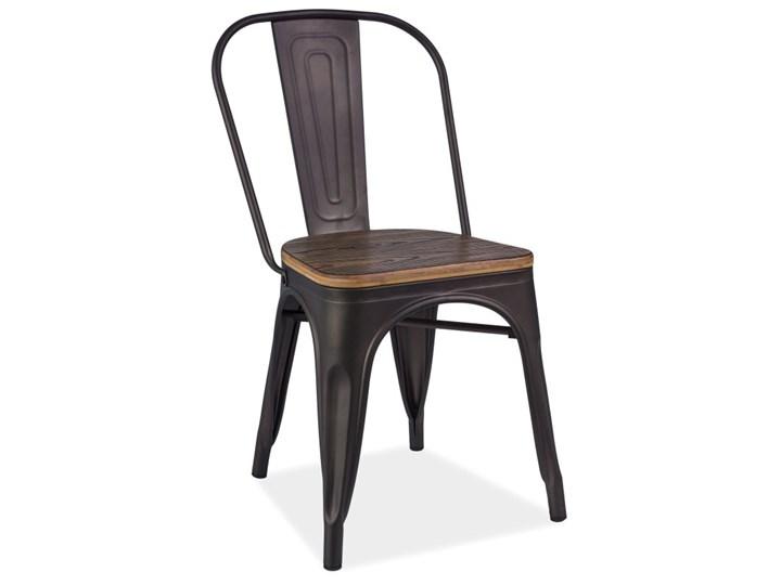 Metalowe krzesło z drewnianym siedziskiem Loft 4 Głębokość 36 cm Szerokość 37 cm Wysokość 85 cm Kolor Brązowy