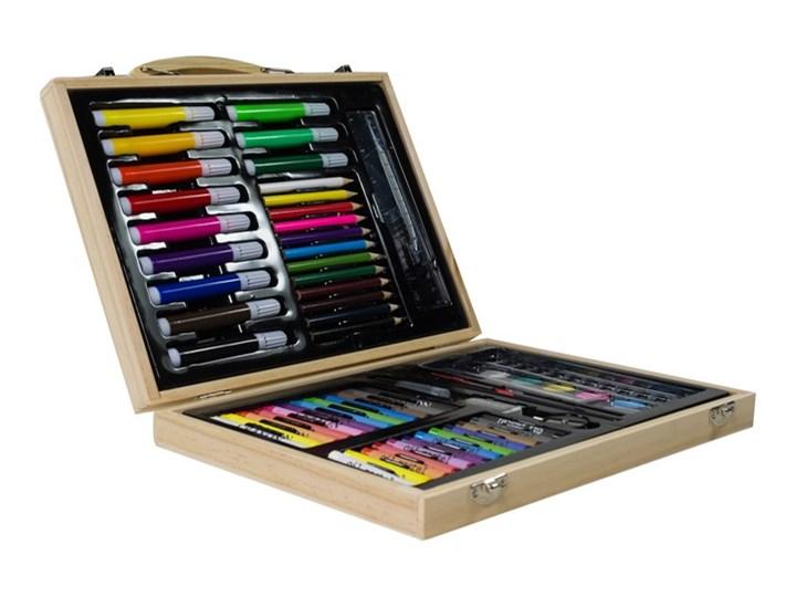 Bardzo dobryFantastyczny Zestaw artystyczny 67el w drewnianej walizce - Akcesoria BS56