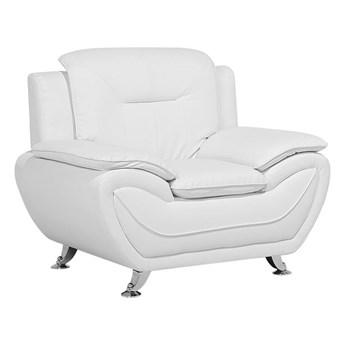 Fotel biały ekoskóra glamour
