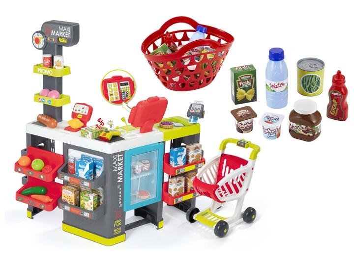 0b9697865f2fb6 Smoby Maxi Market 50 akcesoriów Wózek sklepowy Supermarket + koszyk na  zakupy z akcesoriami
