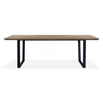 Stół Logan 160 x 90 cm czarny mat obłoga dąb naturalny - krawędź prosta