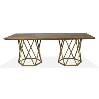 Stół Corner Duo 220 x 90 cm czarny mat obłoga dąb naturalny - krawędź prosta