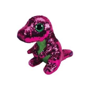 Maskotka TY INC Beanie Boos Flippables Stompy - różowy zielony dinozaur z cekinami 28 cm