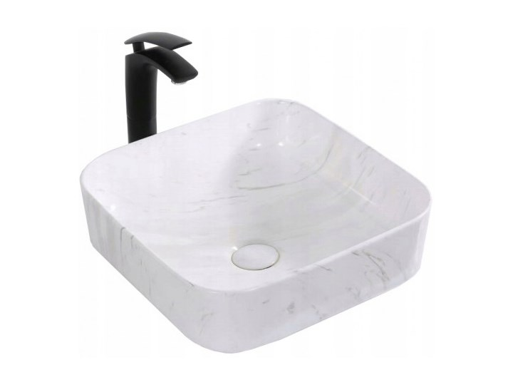 VELDMAN UMYWALKA CERAMICZNA RODO MARMUR Szerokość 39 cm Nablatowe Ceramika Kwadratowe Kategoria Umywalki Kolor Biały