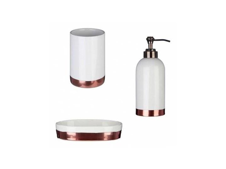 Zestaw łazienkowy Ceramiczny Komplet Biało Miedziany