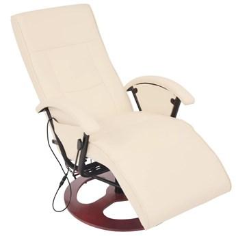 vidaXL Fotel masujący, biały, sztuczna skóra