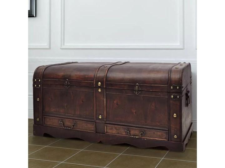 vidaXL Duży, drewniany kufer, brązowy Drewno Skrzynia Drewno Drewno Stolik Styl vintage