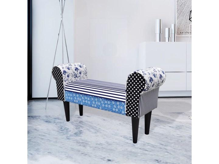 vidaXL Patchworkowa ławka w rustykalnym stylu, niebiesko-biała Z podłokietnikiem Pomieszczenie Salon