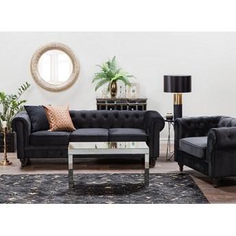 Zestaw wypoczynkowy 3+1 czarny welur sofa i fotel chesterfield aksamit vintage glamour komplet salon