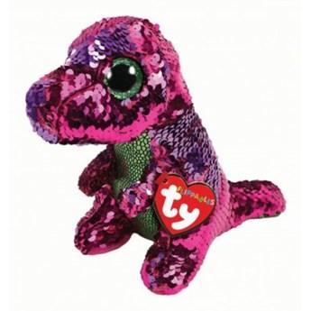 Maskotka TY INC Beanie Boos Flippables Crunch - różowo - zielony dinozaur z cekinami 17 cm